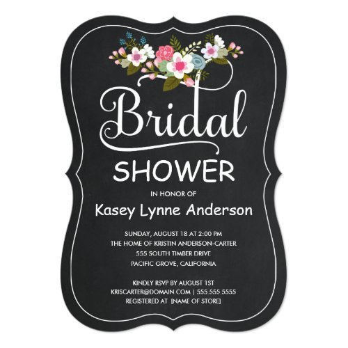 Rustic Chalkboard Floral Wreath Bridal Shower Invitation
