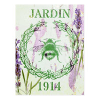 rustic chic french country lavender vintage bee postcard