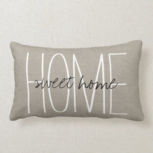 Rustic Chic Home Sweet Home Throw Pillow