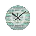 Rustic Coastal Decor Ship Helm Round Clock