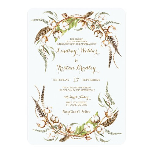 Rustic Cotton Wreath Feathers Wedding Invitation