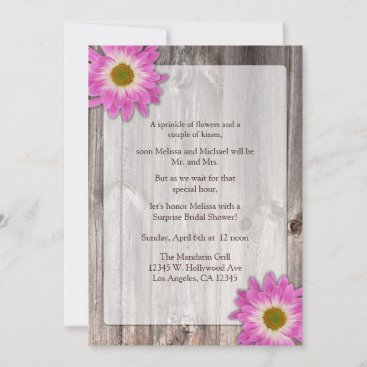 Rustic Country Barn Purple Daisies Bridal Shower Invitation