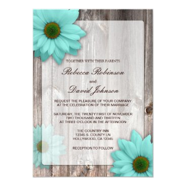 Rustic Country Barn with Teal Blue Daisies Wedding Card