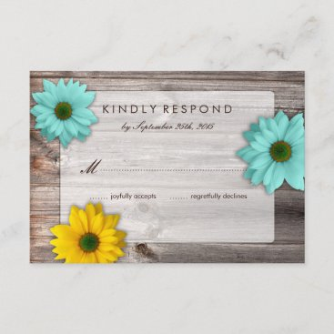 Rustic Country Barn with Yellow & Teal Daisy RSVP