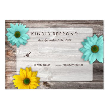 Rustic Country Barn with Yellow & Teal Daisy RSVP Card