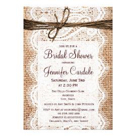 Rustic Country Burlap Bridal Shower Invitations