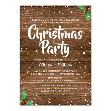 Rustic Country Business Company Christmas Party Card