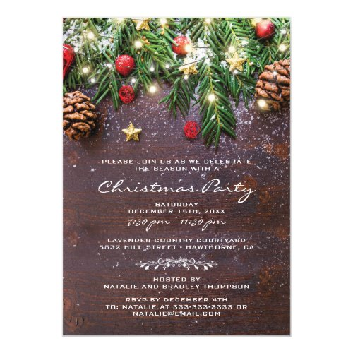 Rustic Country Christmas Holiday Party Invitation