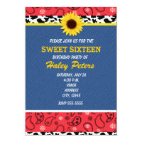 Rustic Country Cow Print & Sunflowers Invitation