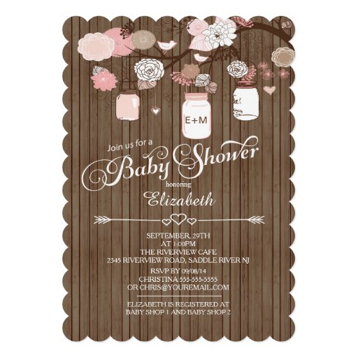 Rustic Country Mason Jar Girls Baby Shower Personalized ...