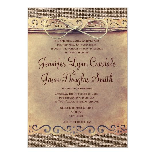 Rustic Country Wedding Invitations