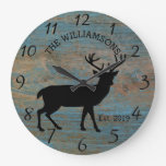 Rustic Country Wood Farmhouse Deer with Antlers Large Clock
