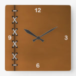 Rustic Crisscrossed Cord Lacing Square Wall Clocks