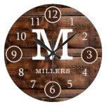 Rustic Dark Brown Wood  Family Name Monogram Large Clock