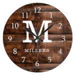 Rustic Dark Brown Wood Family Name Monogrammed Large Clock