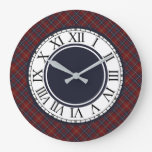 Rustic Dark Red and Navy Blue Plaid Large Clock