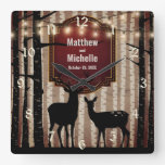 Rustic Deer and Aspen Trees Wedding or Anniversary Square Wall Clock