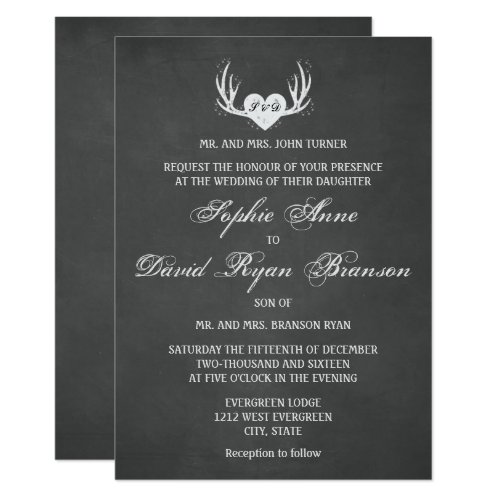 Rustic Deer Antlers & Heart Chalk Wedding Invite