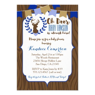Rustic Deer Buck Baby Shower Invitation, Boy Blue Invitation