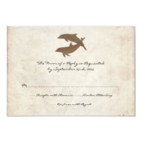 Rustic Dolphins Beach Wedding Invitation RSVP card