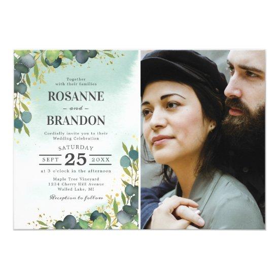 Rustic Dusty Green Botanical Photo Wedding Invitation