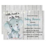 Rustic Elephant Boy Baby Shower Invitation