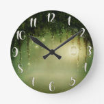 Rustic Enchanted Green Forest & Jar Lights Custom Round Clock