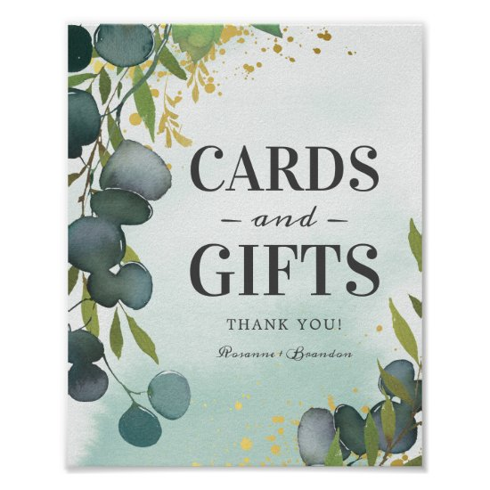 Rustic Eucalyptus Gifts & Cards Wedding Poster