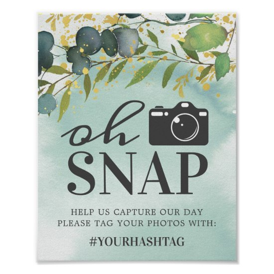 Rustic Eucalyptus Green Gold Oh Snap Poster