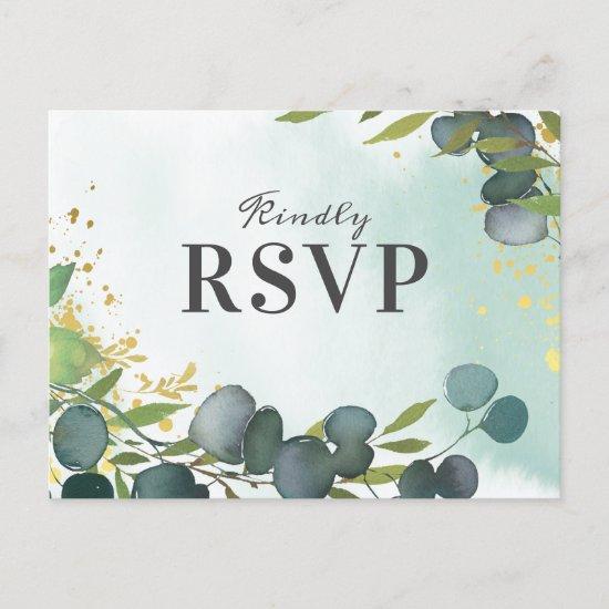 Rustic Eucalyptus Greenery Wedding RSVP Invitation Postcard