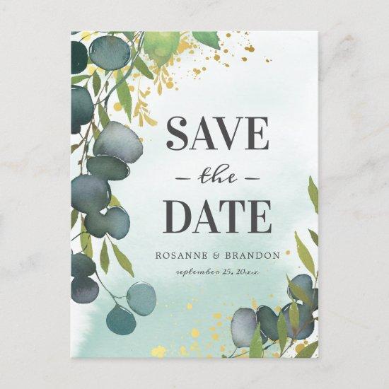 Rustic Eucalyptus Wedding Save the Date Announcement Postcard