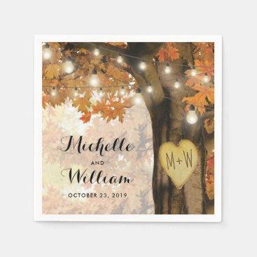 Rustic Fall Autumn Tree Twinkle Lights Wedding Napkin