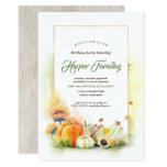 Rustic Fall Harvest Pumpkin Sunflower Birthday Invitation