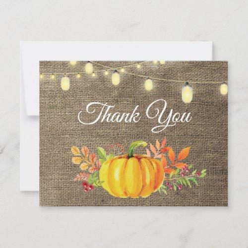 Rustic Fall Pumpkin Autumn Thank You card