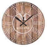 Rustic Family Name Monogram Brown Wood Large Clock