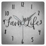 Rustic Farm Life Grey Burlap Texture Whimsical Square Wall Clock