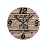 Rustic Farmhouse Country Wooden Wood Grain Custom Round Clock