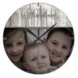 Rustic Farmhouse Family Name and Photo Large Clock