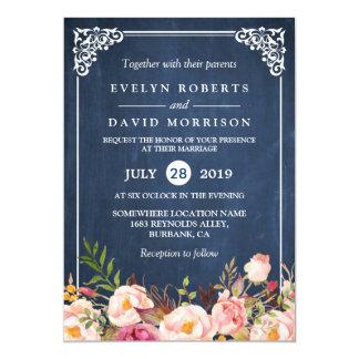 Rustic Fl Blue Chalkboard Formal Wedding Card