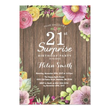 Rustic Floral Surprise 21st Birthday Invitation