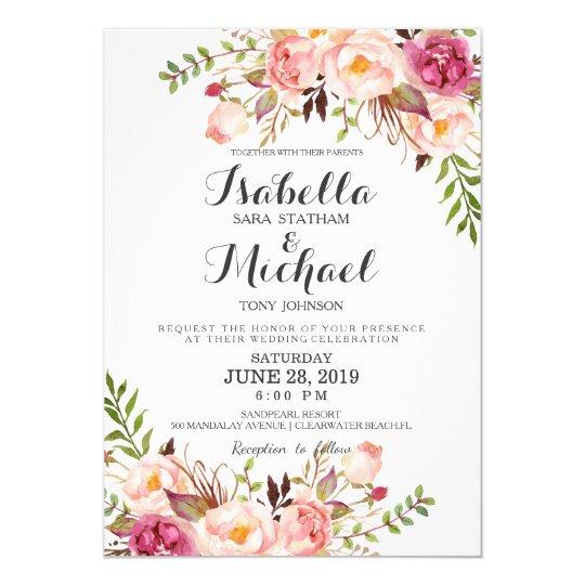 Rustic Fl Wedding Invitation