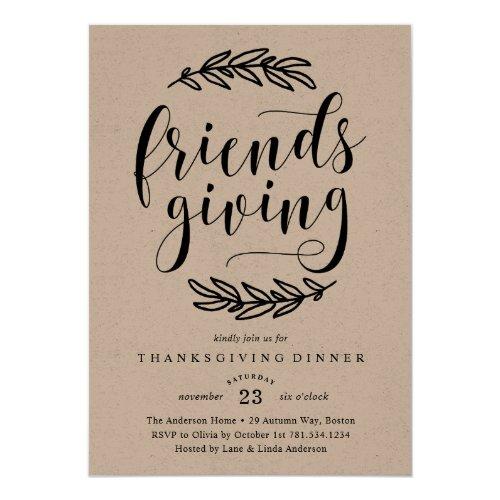 Rustic Friends Giving Dinner Invitation