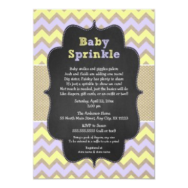 Rustic GIRL Baby Sprinkle Invite, lavender yellow Card