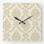 rustic gold,ivory,vintage,damasks,victorian,floral square wall clock