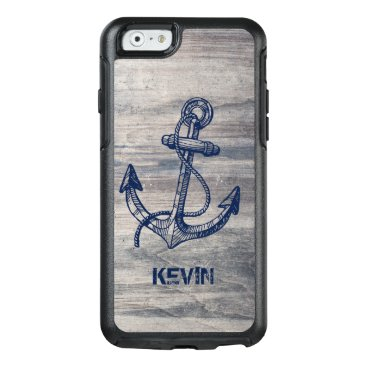 Rustic Gray Wood Texture Midnight Blue Boat Anchor OtterBox iPhone 6/6s Case