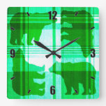 Rustic green plaid bears square wall clock