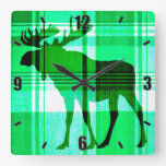 Rustic green plaid moose wall clock