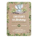 Rustic Greenery Elephant 1st Birthday Invitation