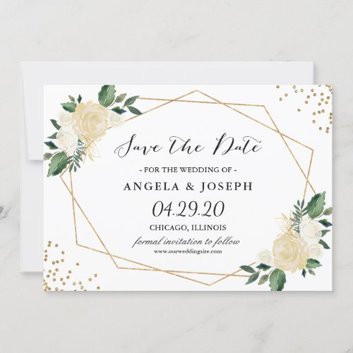 Rustic Greenery Gold Glitters Floral Save the Date