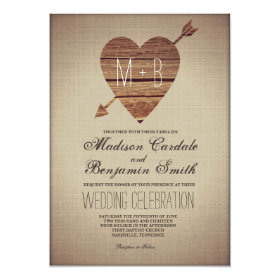 Rustic Heart Barn Wood Country Wedding Invitations